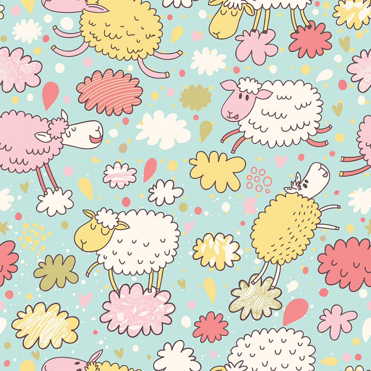 WALLPAPER Wall Mural Casual Style Category Sheep Pattern Picture Per Square Meter
