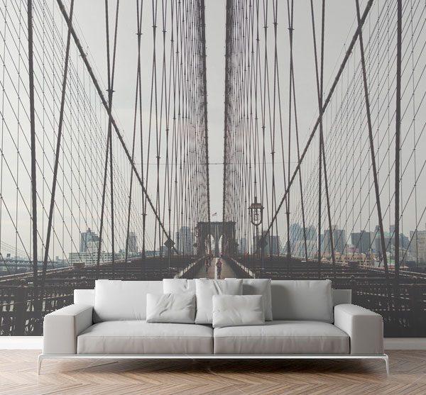 City View Wall Mural Brooklyn Bridge New York