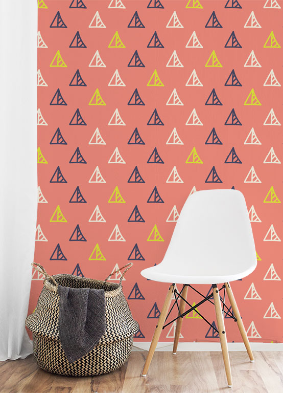 "WALLPAPER Wall Mural Casual Style Category "" Triangle Pattern ..."