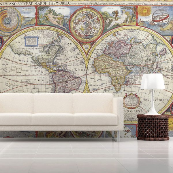 Wallpaper wall mural world map style category map picture per square meter