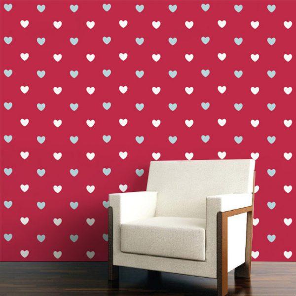 Wallpaper Wall Mural Dot Pattern Category Heart Dot Pattern White